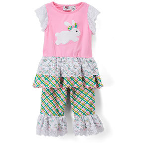 Ann Loren Boutique Easter Bunny Ruffle Outfit Set
